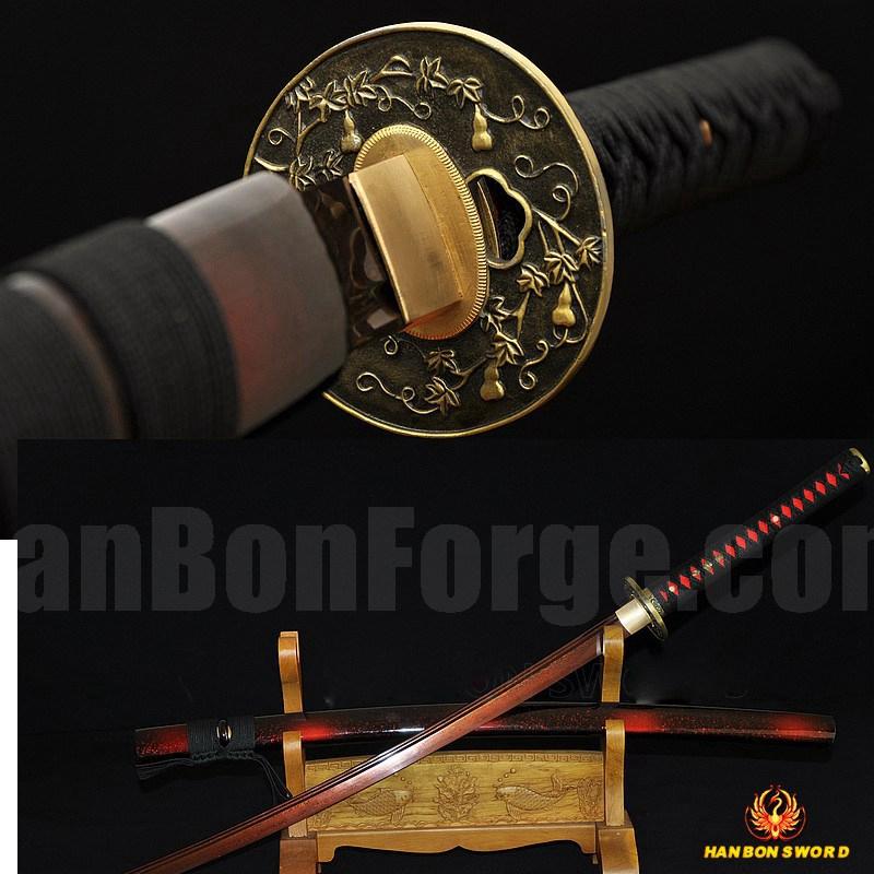 Red Damascus Folded Steel Full Tang Blade Japanese Samurai Sword KATANA VERY SHARP