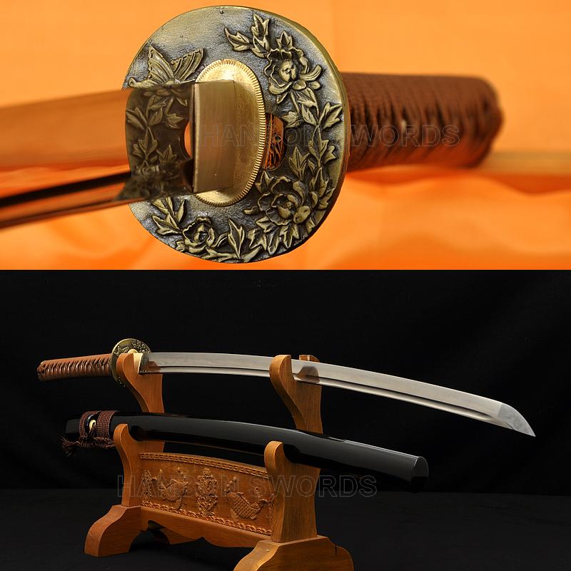 Flower Koshirae Damascus Steel Oil Quenched Blade Japanese Samurai Sword Katana