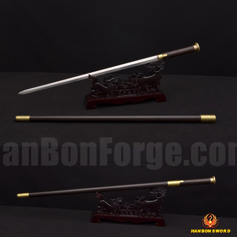 Cane Sword Traditional Hand Forged Chinese JIAN Folded Steel Blade Hand Carved Mountings