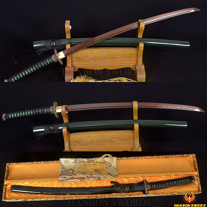 Handmade Japanese Samurai Sword Katana Damascus Folded Steel Black & Red Full Tang Blade Very Sharp