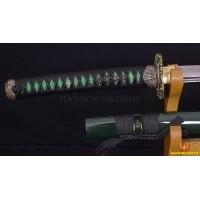 Handmade Japanese Samurai Sword Damascus Folded Steel Black & Red Full Tang Blade