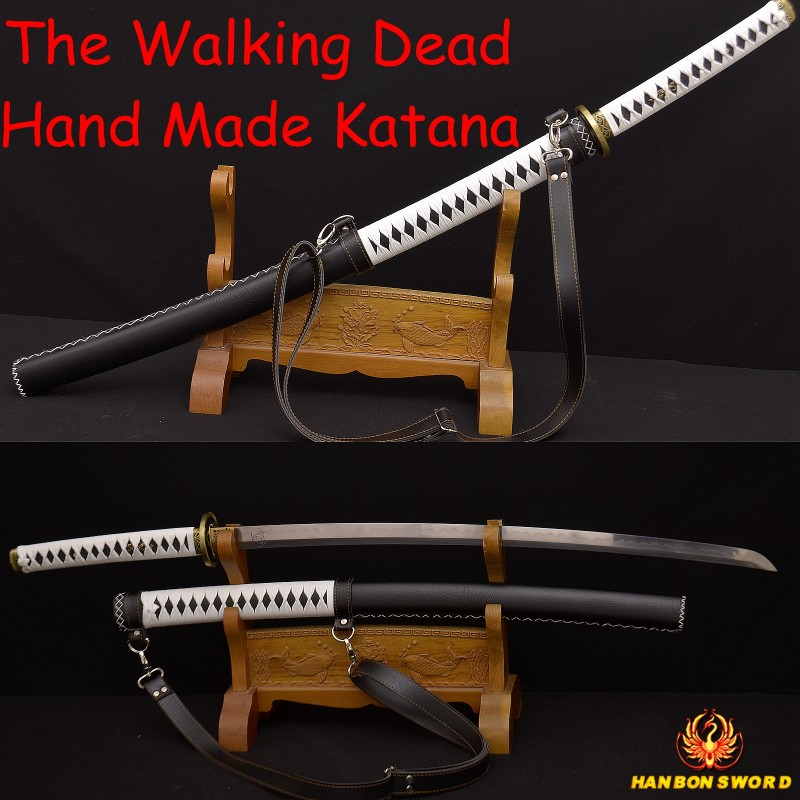 The Walking Dead Sword-Michonne's Katana Zombie Killer DAMASCUS Steel Clay Tempered Blade