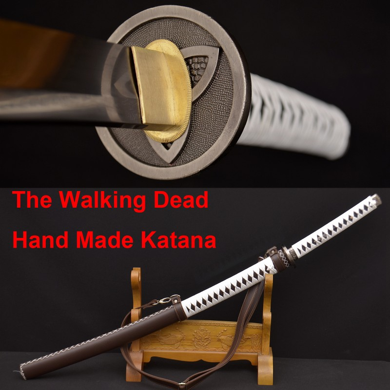 The Walking Dead Sword-Michonne's Katana Zombie Killer DAMASCUS Steel Full Tang Blade