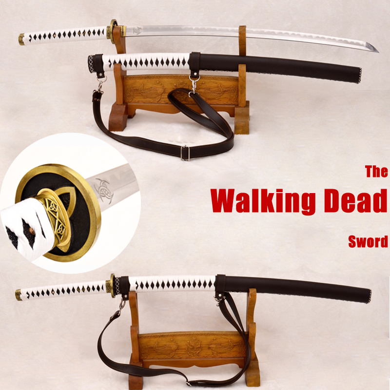 Walking Dead Sword Katana Samurai Japanese Michonne's Zombie Killer KOBUSE Blade Real Hamon Full Tang Steel Golden Alloy Tsuba