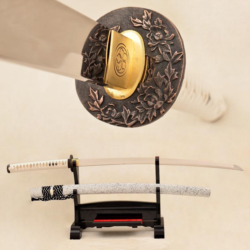 9260 Spring Steel Blade Katana Japanese Samurai Sword Traditional Hand Forged Peony Tsuba