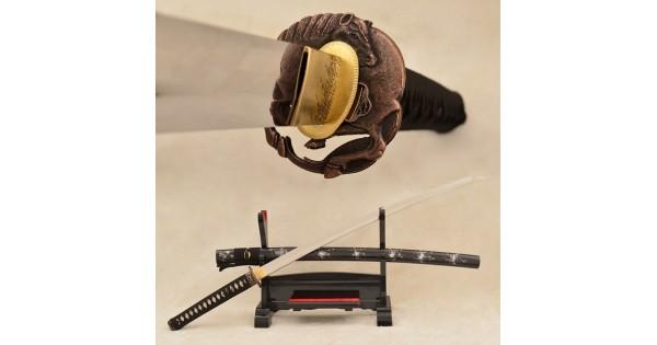 Sageo 08 Japanese Samurai Sword Tsuba Saya MAROON BLACK