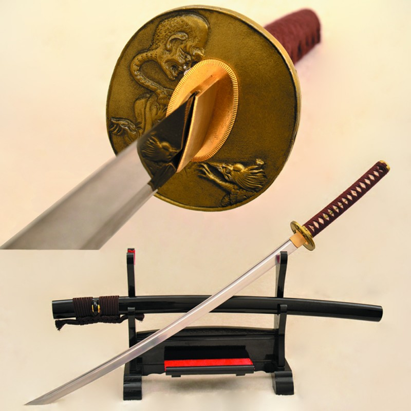Japanese Samurai Sword Katana folded Steel Full Tang Blade Sharp Handmade Monster Tsuba
