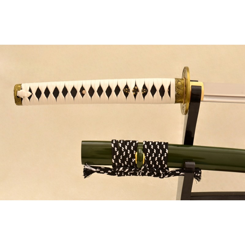 Samurai Sword Japanese Sword 1095 High Carbon Steel Blade Leather Tsuka-Ito For Sale