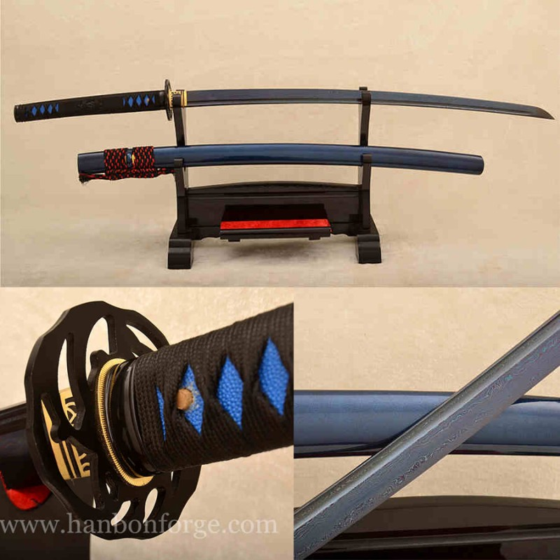 Blue Blade Folded Steel Full Tang Katana Damascus Japanese Sword