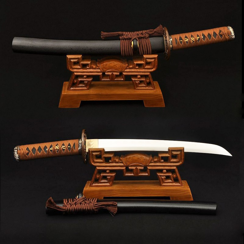 Clay Tempered Japanese Tanto Samurai Dragon Sword 1095 Carbon Steel Blade