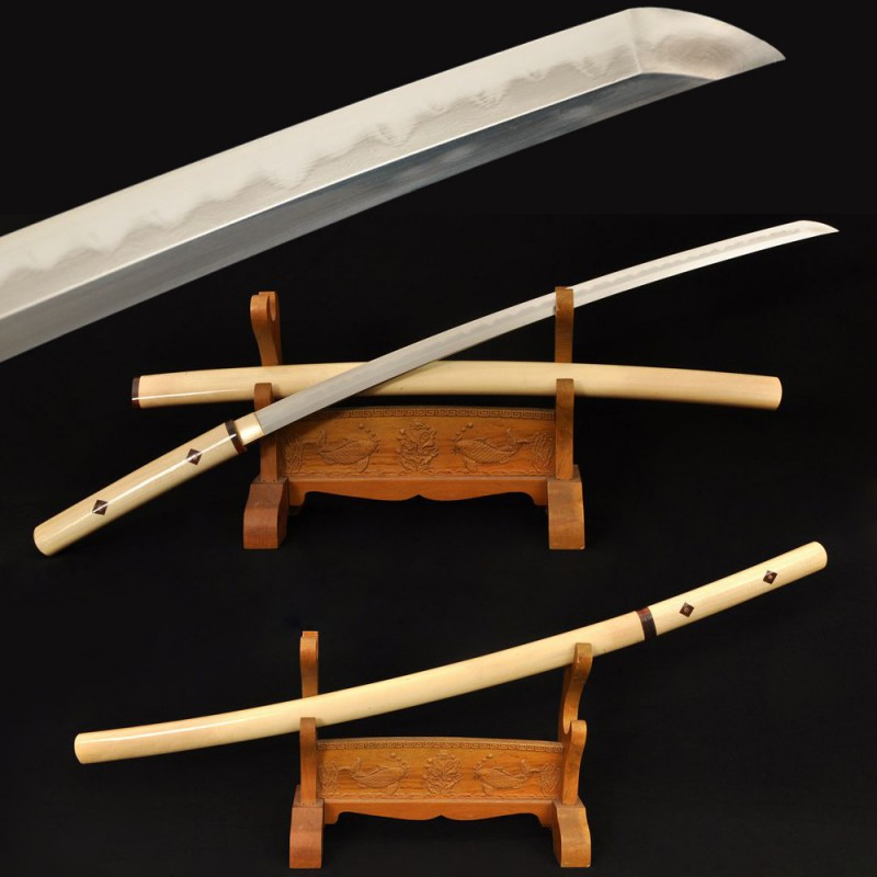 Folded Steel Shirasaya Sword Samurai Japanese Clay Tempered Blade Hard Natural Wood Saya