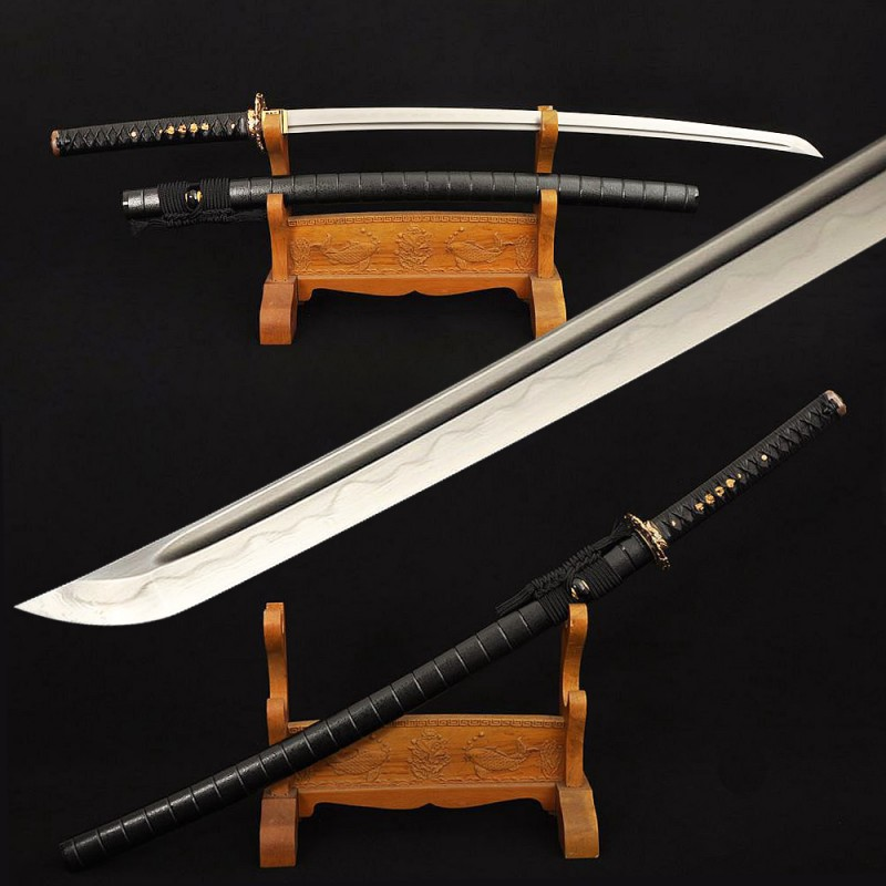 Clay Tempered Samurai Katana Japanese Sword Damascus Folded Steel Blade Traditional Handmade