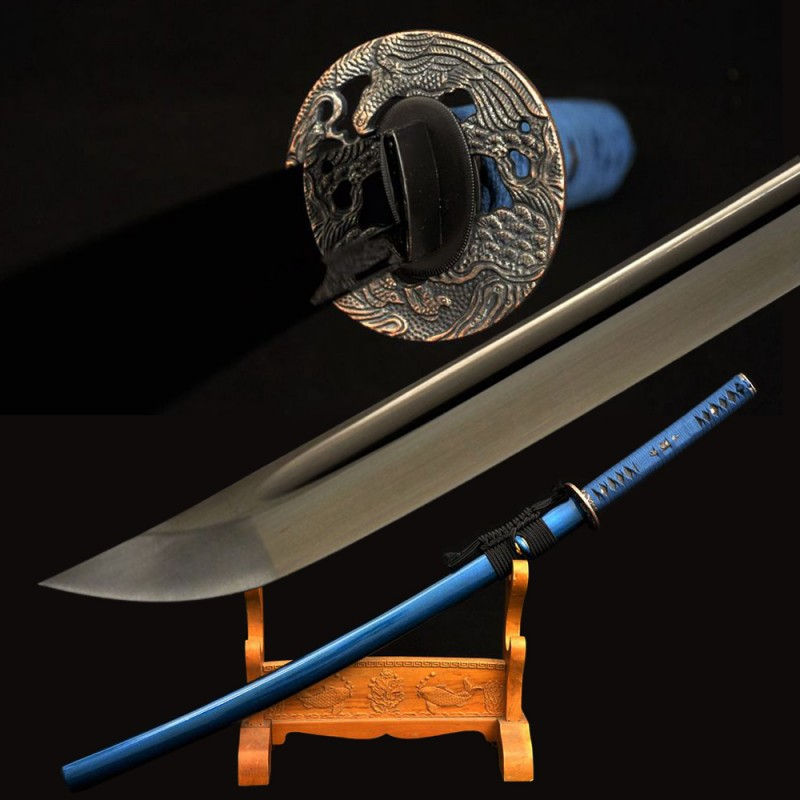 Black Blade Katana Japanese Samurai Sword Handmade Carbon Steel Eagle Tsuba Battle Ready