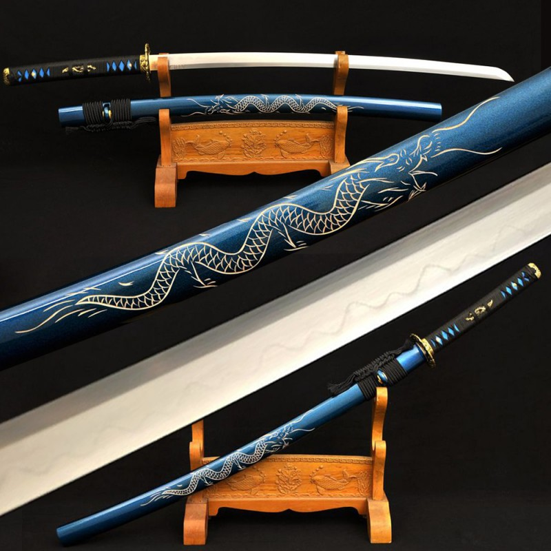 Folded Steel Katana Japanese Samurai Full Tang Dragon Sword Clay Tempered Blade Handmade