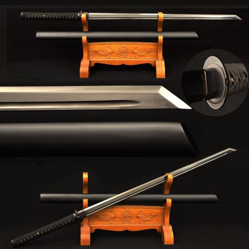 Japanese Ninjato Sword Samurai Black Carbon Steel Blade Kiriha Zukuri Katana Full Tang