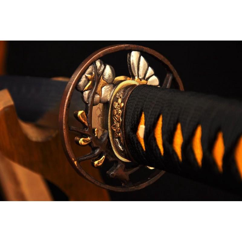Japanese Samurai Sword Clay Temperd Damascus Folded Steel Real Rayskin Saya