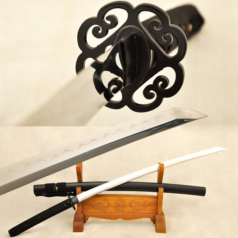 Clay Tempered Samurai Katana Damascus Folded Steel Japanese Sword Traditional Hand Forged