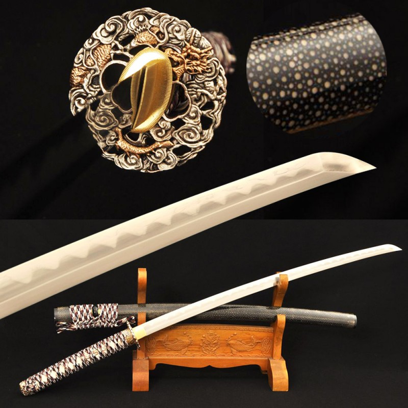 Samurai Japanese Wakizashi Sword Folded Steel + 1095 Steel Clay Tempered KOBUSE Blade Full Rayskin Saya