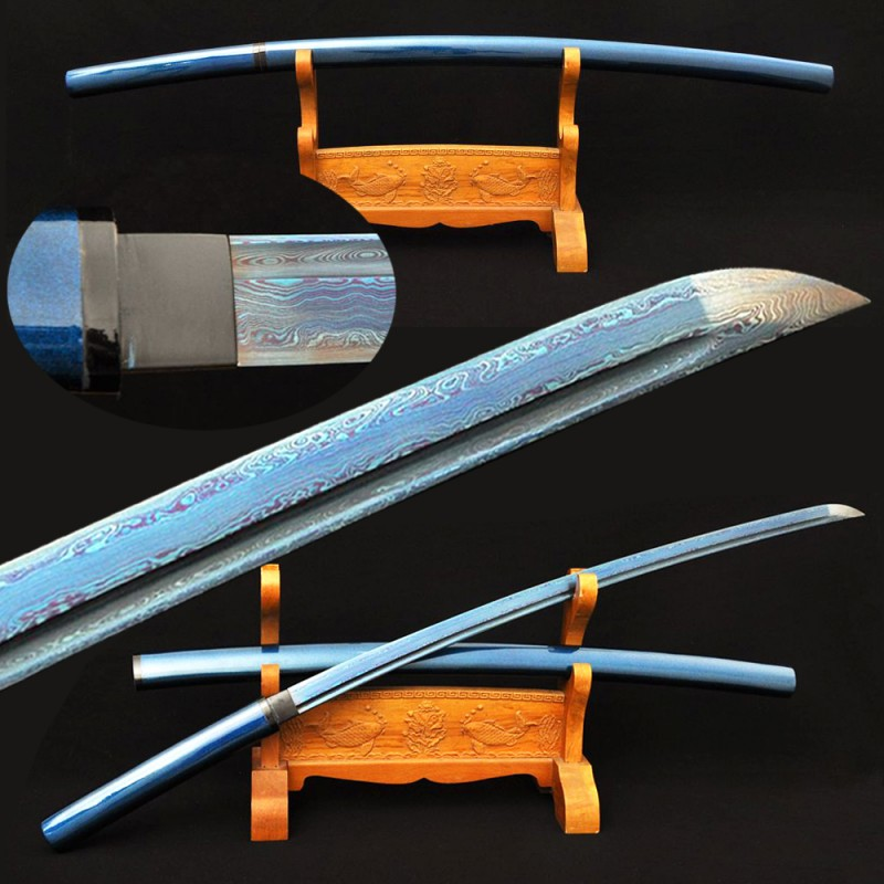 Blue Shirasaya Japanese Katana Samurai Sword Damascus Folded Steel Hand Made