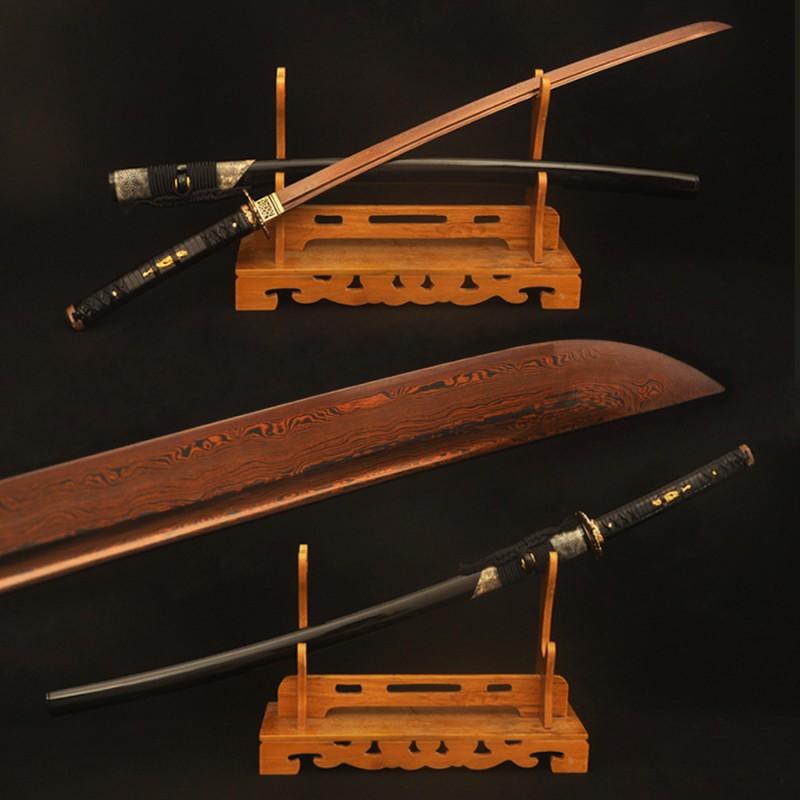 Folded Steel Katana Japanese Samurai Sword Red Blade Genuine Rayskin Wrapped Saya