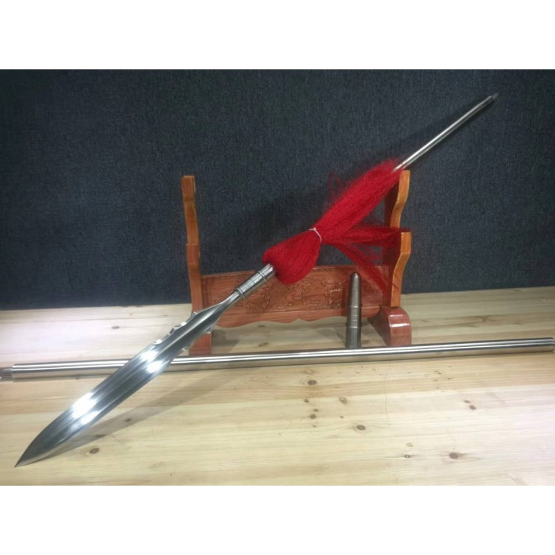 Chinese Spear (Qiang) Folded Steel Hand Polishing Blade Water Margin Lin Chung Sword Weapons