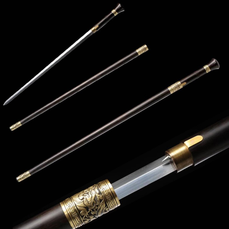 Walking Cane Sword Chinese JIAN Traditional Hand Forged Folded Steel Blade Ebony Scabbard