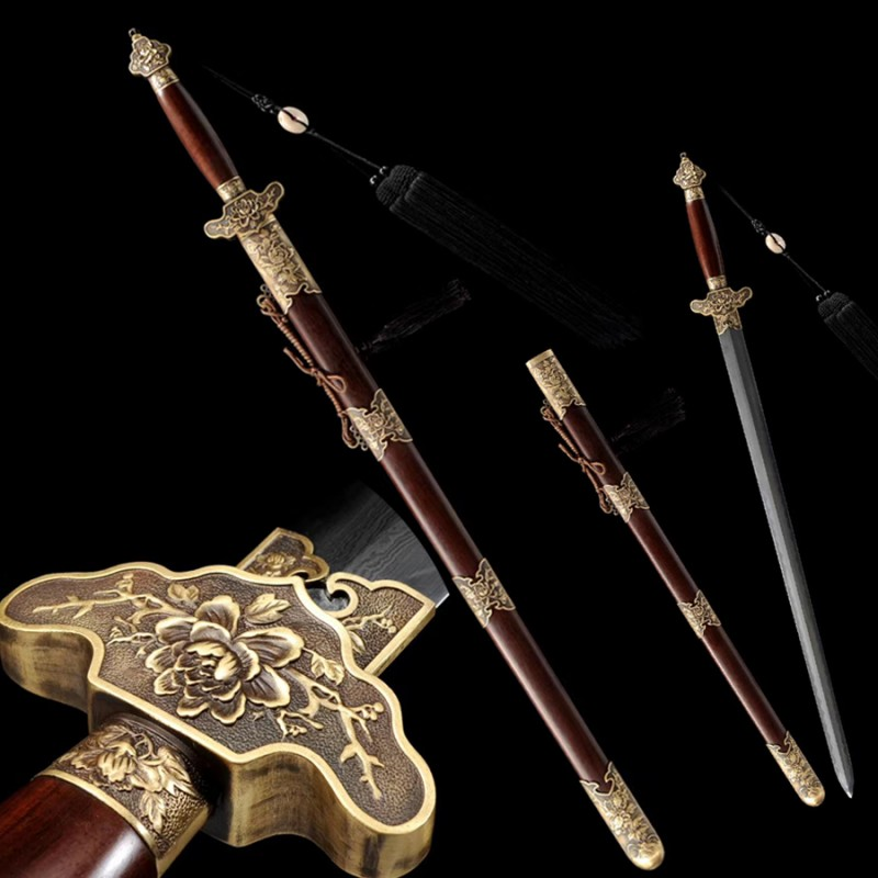 Chinese sword Jian high quality damascus folded steel peony swords straight blade fighting for sale