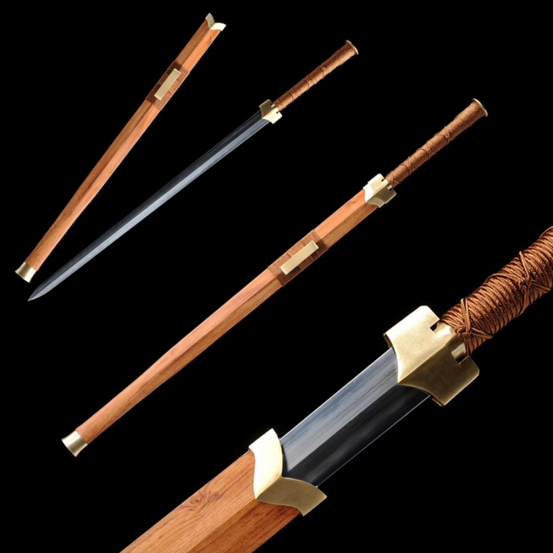 Folded Steel Chinese Han Jian Sword Clay Tempered Blade Hualee Wood Scabbard Hand Forged