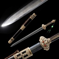 Chinese Sword Ming Dynasty Emperor YongLe's Jian Folded Steel Clay Tempered 8 Side Twisted-Grained Blade