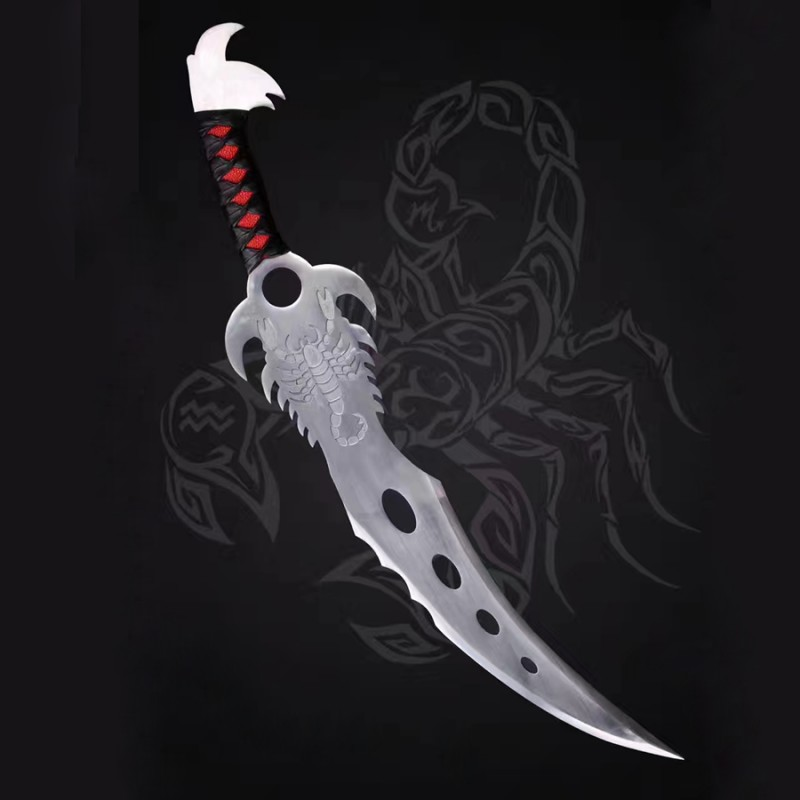 The Scorpion King Sword 1095 High Carbon Steel Leather Wrapped Handle Genuine Rayskin