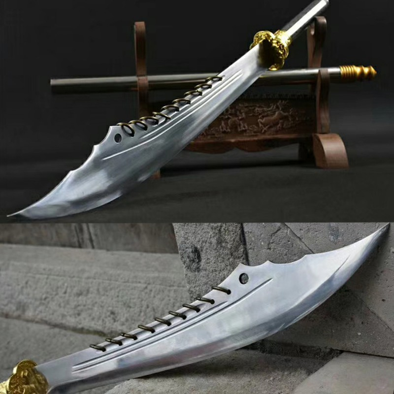 Nine Ring Broadswords Chinese DAO T10 Carbon Steel Blade Traditional Hand Polish Forged