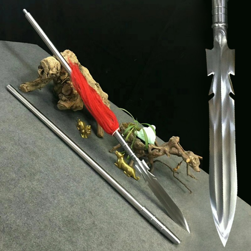 Overlord Spear Sword Chinese Lance Pike 1095 High Carbon Steel Blade Long Shaft Battle Ready