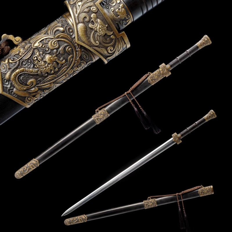 Dragon Phoenix Sword Antiqued Chinese Jian Brass Metal Guard 8-Side Folded Steel Blade Sharp