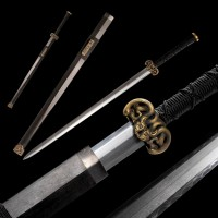 Han Wu Chinese Sword Jian Folded Steel Blade Handcrafted Pure Copper Fittings
