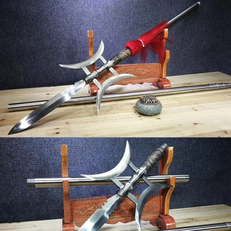 Halberd Spear Dragon Sword Double Axe Chinese Folded Pattern Steel Blade Long Shaft Sharp