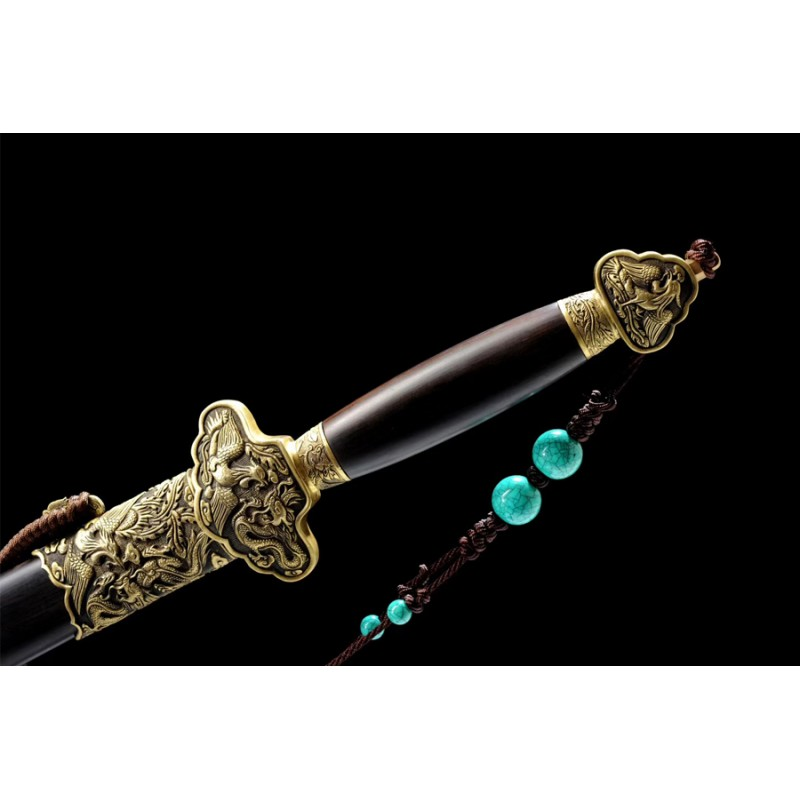 Dragon-Phoenix Jian Sword Chinese Folded Pattern Steel Clay Tempered Blade Ebony Saya