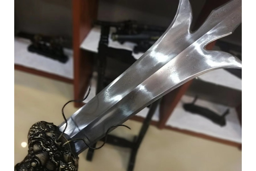 Tri-Point Double-Edged Sword Dao Chinese Folded Steel Blade Wushu