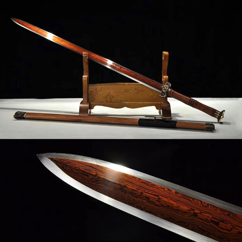 Chinese Jian Sword Fighting Damascus Folded Steel Red Blade Sharp Handmade