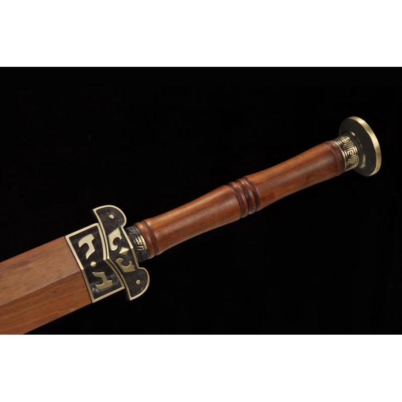 Chinese Jian Sword Damascus Folded Steel Red Blade traditional Handmade