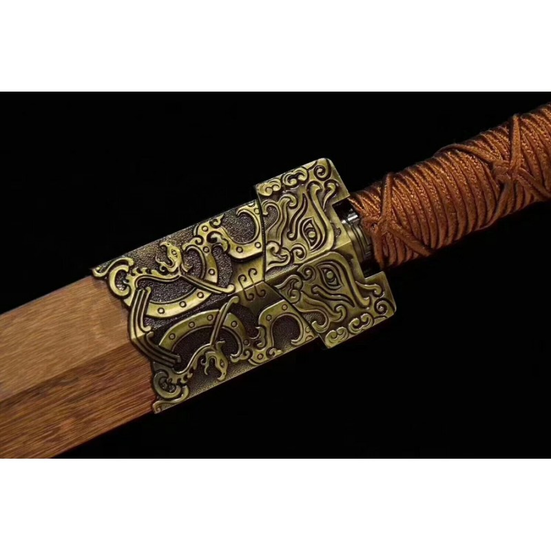 HAN JIAN Sword Chinese Sword Damascus Folded Steel Dragon Style Blade For Sale
