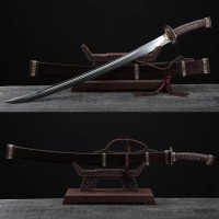 Chinese Dao Ming Dynasty Swords Three Colors Copper Folded Steel Clay Tempered Hazuya Polish Blade