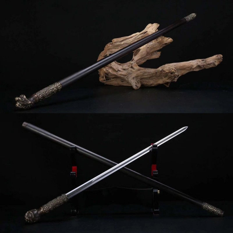 Functional Cane Sword Chinese Jian Folded Steel Brass Lion Head Double Hi Blade