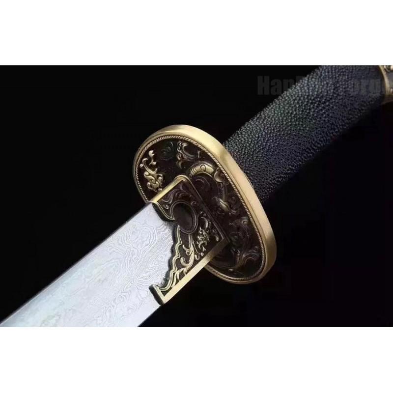 Dragon Qing Dao Chinese Sword Clay Tempered Folded Steel Hazuya Polish Blade Rayskin Sheath