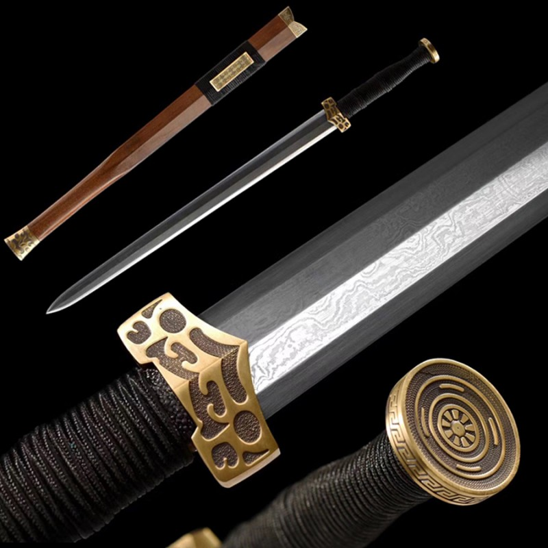 Chinese Goujian Sword 8 Sided Folded Steel Double Edged Sharp Blade Hand Carving Mountings
