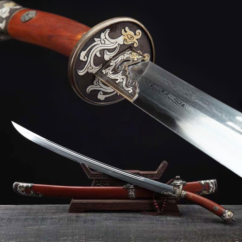 Dragon Dao Sword Chinese Damascus Steel Hazuya Polish Clay Tempered Blade Double-Hi