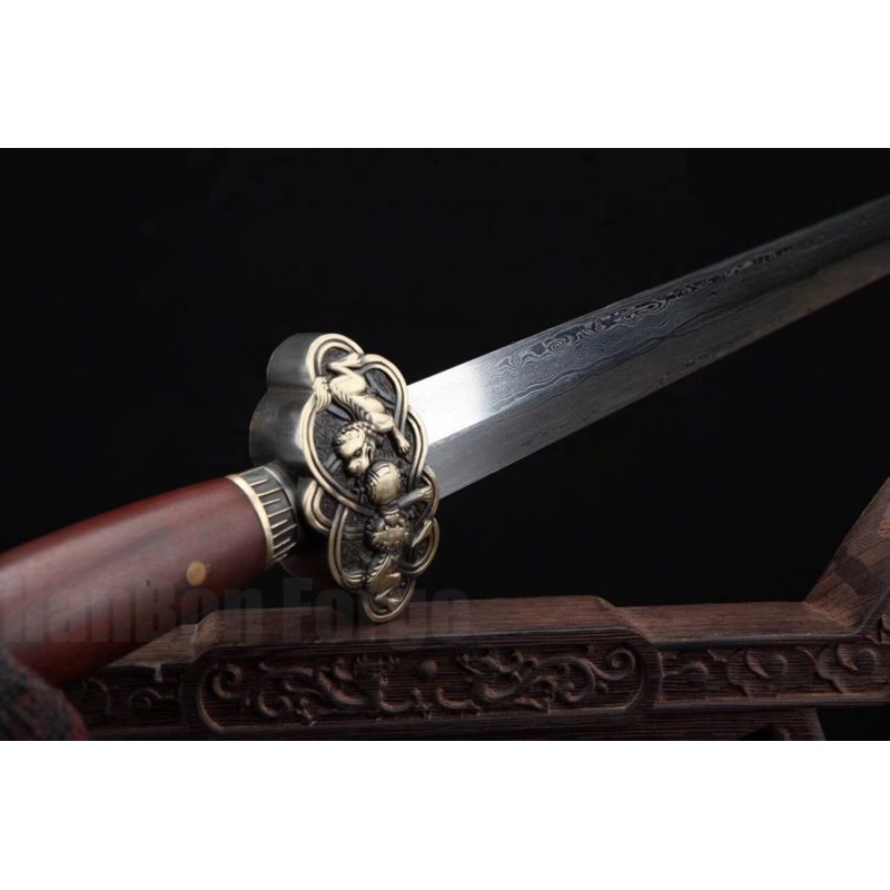 Lion Jian Chinese Sword Damascus Folded Steel Hazuya Polish Blade Rosewood Sheath