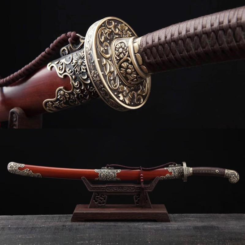Chinese Sword Chrysanthemum Qing Dao Hazuya Polish Damascus Steel Clay Tempered Blade