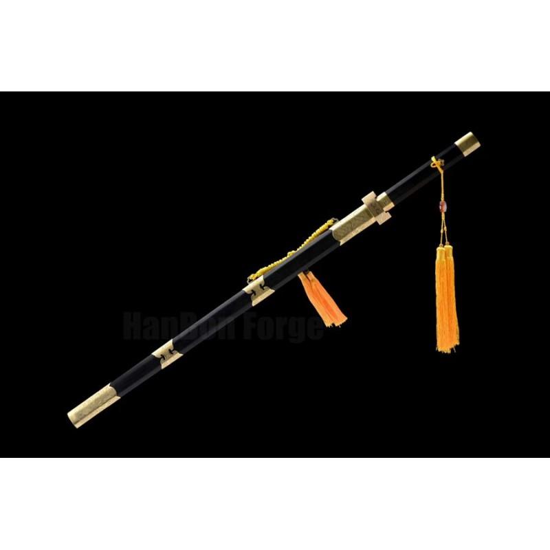 Famous Chinese Ganjiang Sword Jian Damascus Steel 12 Processes Hazuya Polish Blade