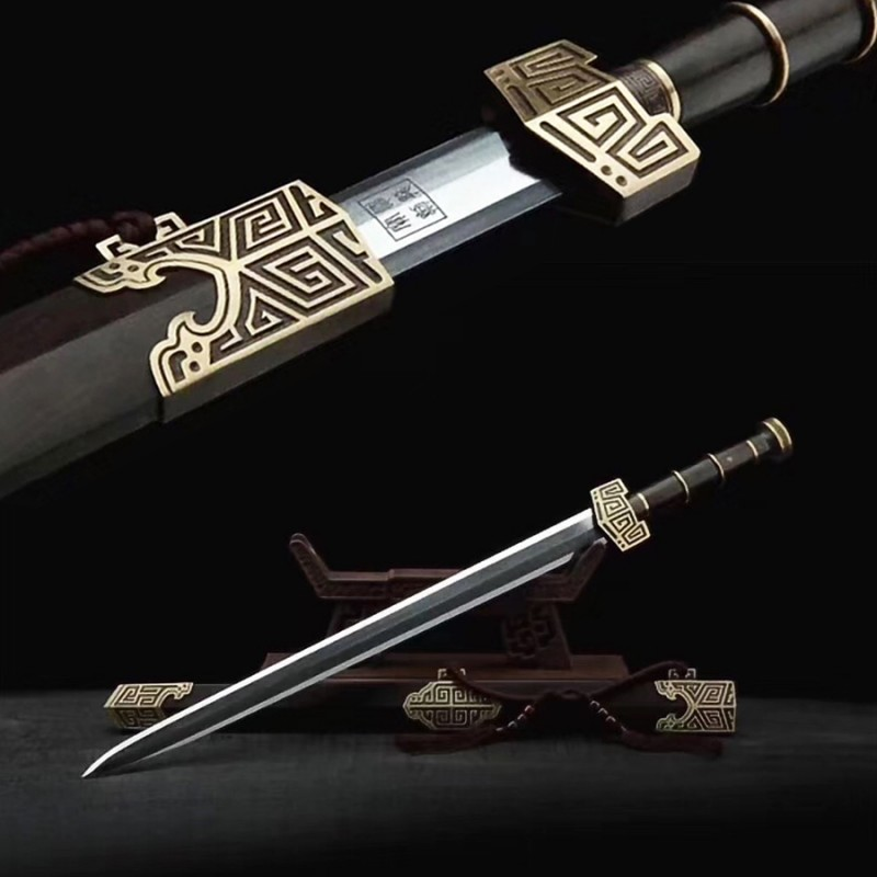 Qin Shi Huang Jian Chinese Sword Damascus Folded Steel Ebony Scabbard Fighting