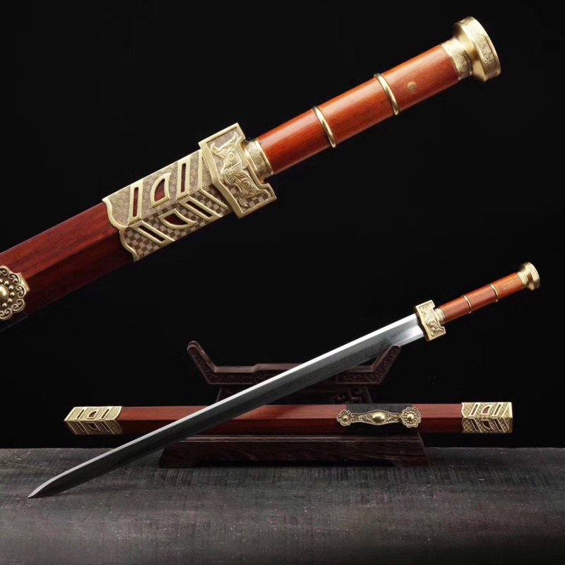 Ruyi Jian Chinese Sword Damascus Pattern Steel Blade Sharp Rosewood Scabbard Fighting